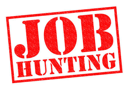 credit crunch: JOB HUNTING red Rubber Stamp over a white background.