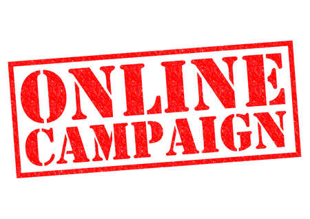 cause: ONLINE CAMPAIGN red Rubber Stamp over a white background. Stock Photo