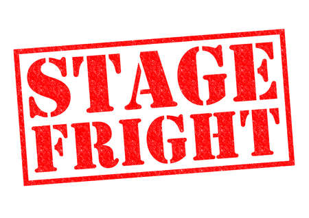dramatics: STAGE FRIGHT red Rubber Stamp over a white background.