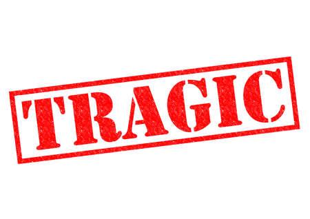 zatrważający: TRAGICZNA Czerwony stempel na białym tle. Zdjęcie Seryjne