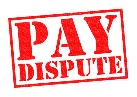 trade union: PAY DISPUTE red Rubber Stamp over a white background.