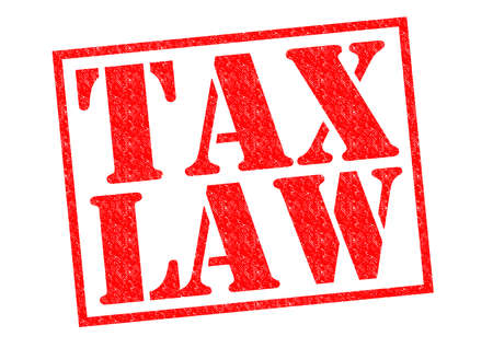 levy: TAX LAW red Rubber Stamp over a white background.