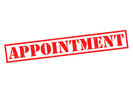 apt: APPOINTMENT red Rubber Stamp over a white background.