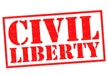 liberties: CIVIL LIBERTY red Rubber Stamp over a white background.