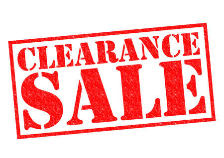 sale sign: CLEARANCE SALE red Rubber Stamp over a white background.