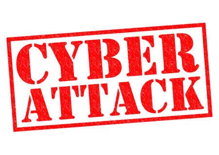 cyber warfare: CYBER ATTACK red Rubber Stamp over a white background.