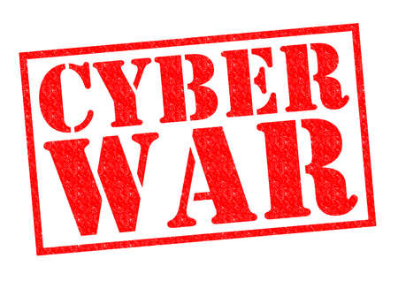 cyber war: CYBER WAR red Rubber Stamp over a white background.