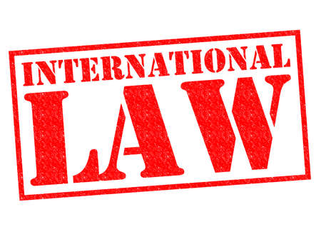 international law: INTERNATIONAL LAW red Rubber Stamp over a white background.