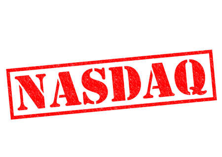 credit crisis: NASDAQ red Rubber Stamp over a white background.