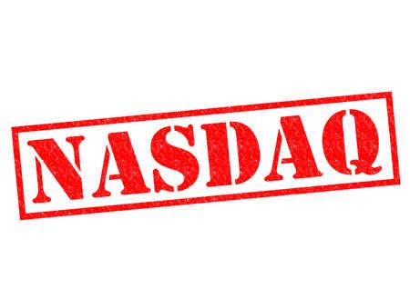nasdaq: NASDAQ red Rubber Stamp over a white background.