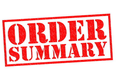 checkout line: ORDER SUMMARY red Rubber Stamp over a white background. Stock Photo