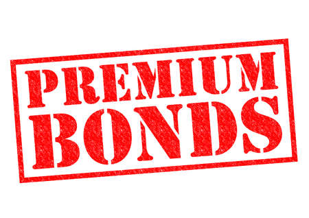 bonds: PREMIUM BONDS red Rubber Stamp over a white background. Stock Photo