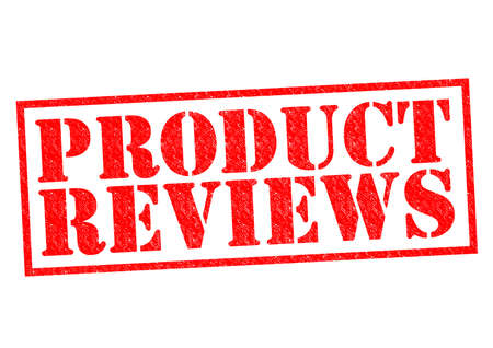 PRODUCT REVIEWS red Rubber Stamp over a white background. Standard-Bild