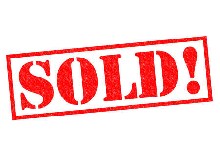 purchased: SOLD! red Rubber Stamp over a white background. Stock Photo