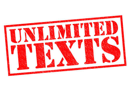unlimited: UNLIMITED TEXTS red Rubber Stamp over a white background.