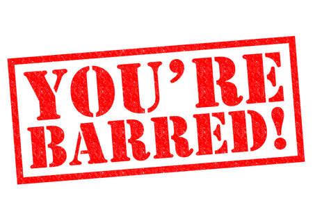 barred: YOURE BARRED! red Rubber Stamp over a white background.