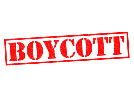 banning the symbol: BOYCOTT red Rubber Stamp over a white background. Stock Photo