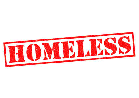housing problems: HOMELESS red Rubber Stamp over a white background.