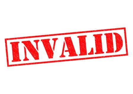 Rouge rubber stamp INVALID sur un fond blanc.