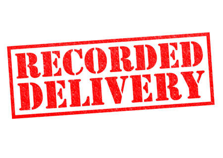 next day: RECORDED DELIVERY red Rubber Stamp over a white background.