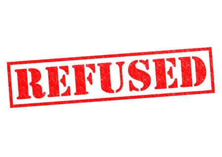 refused: NEG� sello de goma roja sobre un fondo blanco.