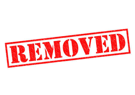 canceled: REMOVED red Rubber Stamp over a white background. Stock Photo