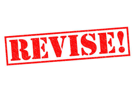 revise: REVISE! red Rubber Stamp over a white background.