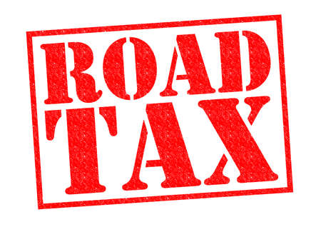 levied: ROAD TAX red Rubber Stamp over a white background.