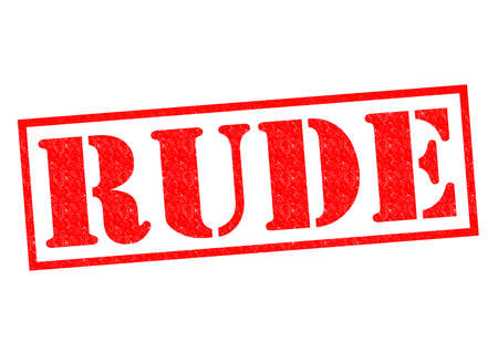 RUDE red Rubber Stamp over a white background.