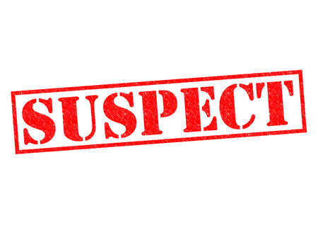 accuse: SUSPECT red Rubber Stamp over a white background. Stock Photo