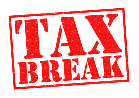 indirect: TAX BREAK red Rubber Stamp over a white background. Stock Photo