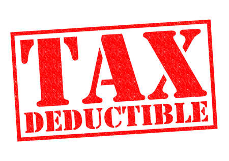 taxman: TAX DEDUCTIBLE red Rubber Stamp over a white background.