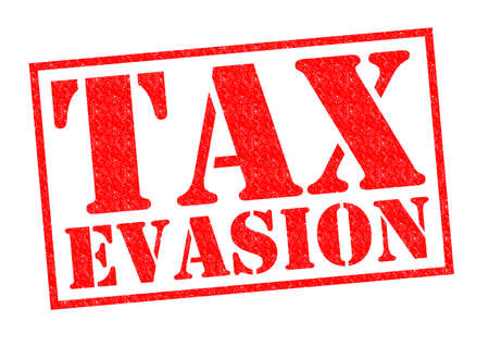 evade: TAX EVASION red Rubber Stamp over a white background.