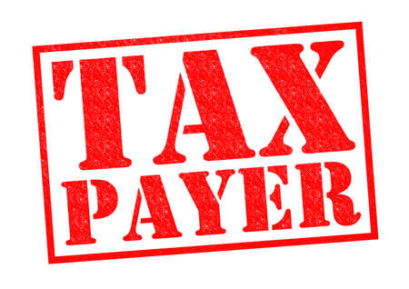 taxman: TAX PAYER red Rubber Stamp over a white background.