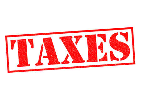 taxman: TAXES red Rubber Stamp over a white background. Stock Photo
