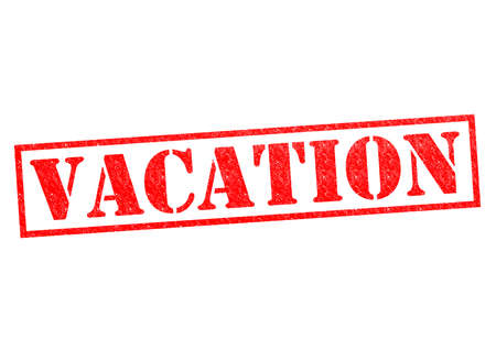 going away: VACATION red Rubber Stamp over a white background.