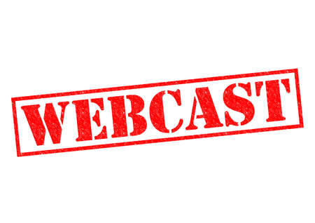 webcast: WEBCAST red Rubber Stamp over a white background. Stock Photo