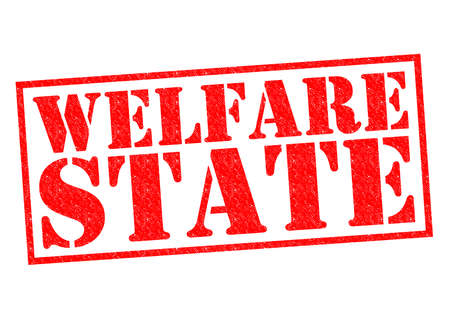 dole: WELFARE STATE red Rubber Stamp over a white background.