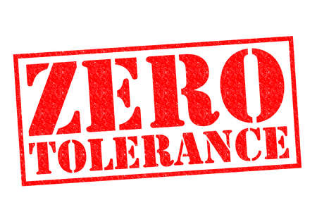 ZERO TOLERANCE red Rubber Stamp over a white background. Stok Fotoğraf