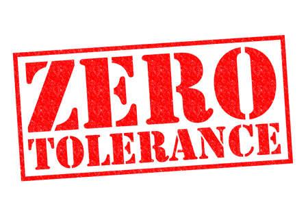 tolerance: ZERO TOLERANCE red Rubber Stamp over a white background. Stock Photo