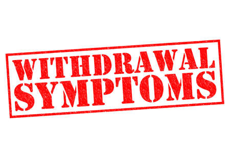 symptoms: WITHDRAWAL SYMPTOMS red Rubber Stamp over a white background.