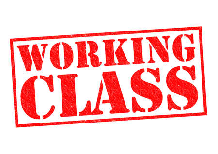 unskilled worker: WORKING CLASS red Rubber Stamp over a white background. Stock Photo