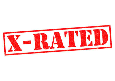 X-RATED red Rubber Stamp over a white background.
