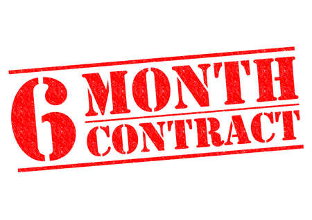 month: 6 MONTH CONTRACT red Rubber Stamp over a white background.