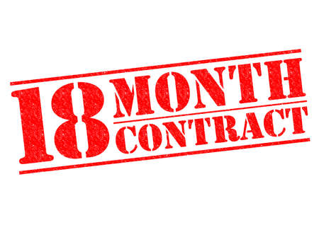 18 month old: 18 MONTH CONTRACT red Rubber Stamp over a white background.