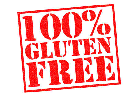 coeliac: 100% GLUTEN FREE red Rubber Stamp over a white background.