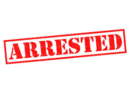wrongdoing: ARRESTED red Rubber Stamp over a white background.