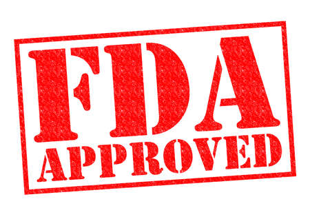 FDA APPROVED red Rubber Stamp over a white background.