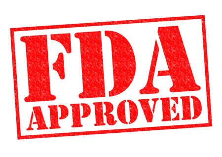 FDA GOEDGEKEURD rode Rubber Stamp over een witte achtergrond.