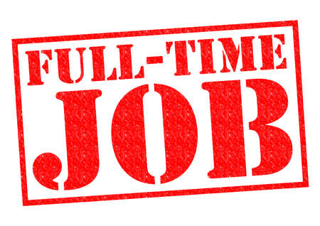 temporary workers: FULL-TIME JOB red Rubber Stamp over a white background.